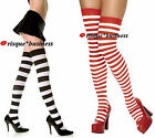 Gothic Black White Red Striped Stockings Stay-Ups Hold Up Thigh Hi High - OSFM