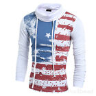 Men's Casual Long Sleeve Shirts Slim Fit USA Flag T-Shirt Tops Blouse Pullover