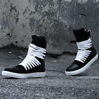 ByTheR Urban Casual Trendy Multi Lace Leather High Top Sneakers