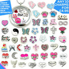 Charms Living Memory Locket Necklace Floating Charm Costume Jewellery Silver