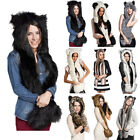 Winter Warm Women Faux Fur Animal Hat Wolf Hood Scarf Gloves Xmas Spirit Gift AS