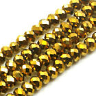 "Gold Crystal Faceted Rondelle Beads 15"", pick your size,3,4,6,8mm"