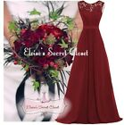 GRACE Berry Red Lace Chiffon Maxi Bridesmaid Ballgown Dress UK Sizes 6 -18