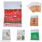 50 Hot Christmas Self Adhesive Seal Plastic Bags Candy Cookies Pouches 15x10cm