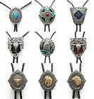 Western Style Native American Bolo Tie Antique Silver Indian Art Cowboy Necktie