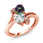 1.65 Ct Sky Blue Aquamarine Green Mystic Topaz 18K Rose Gold Plated Silver Ring