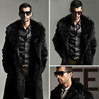 Luxury Mens Long Faux Fur Coat Winter Parka Jacket Fashion Overcoat Parka Black