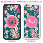 PINK TEAL SHABBY CHIC ROSE FLORAL MONOGRAM PHONE CASE FOR IPHONE X 8 7 6S 6 SE 5