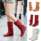 Cute Women's Low Heel Mid-Calf Bowknot Boots Shoes US Size Newest Arrival Pop