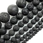 Natural Volcanic Black Lava Round Beads, 4,6,8,10,12,14mm pick your size