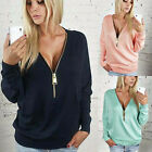 Fashion Womens Sexy Deep V-Neck Long Sleeve Tops Blouse Zipper Shirt Hoodies Tee