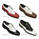 Mens Two Tone Wing Tip Oxfords Lace up Man Made Leather Dress Shoes 5753