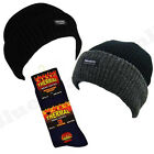 MENS THINSULATE LINED BEANIE WINTER HAT THERMAL SOCKS SKI WARM THERMAL ACCESSORY