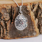 925 Sterling Silver Antiqued Flowers Oval Locket Necklace Snap Fasten w Gift Box