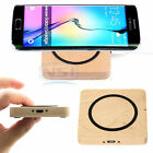 Wooden Qi Wireless Charger Mini Charging Pad Mat For LG Samsung Galaxy S6 Edge