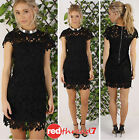 Lace Black Dress Summer Mini Cap Sleeve Evening Party Cotton Lined Sexy Boutique