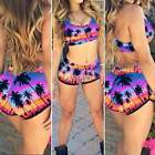 Sexy High Waist Floral Bandage Bikini Sets Push-Up Swimsuit Swimwear Beachwear