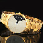 New Luxury Men's Movable Gold Stainless Steel Band Quartz Sport Wrist Watch