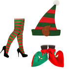 LADIES SANTAS HELPER ELF PIXIE HAT TIGHTS & OR SHOES BOOTS FANCY DRESS COSTUME