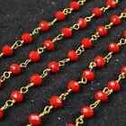 PRE-SALE 16Ft 5~6mm Red Quartz Rondelles Rosary Beaded Chain Wire Wrapped BJT030