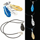 Men Stainless Steel Necklace Silver Green Black Feather Chain Pendant Jewelry