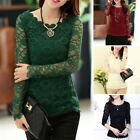 Sexy Women Long Sleeve Floral Lace Chiffon Mesh Trim Slim T-Shirt Blouse Tops