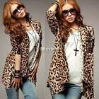 Fashion Long sleeve Leopard Print Weave Cardigan Knitting Irregular Long Coat