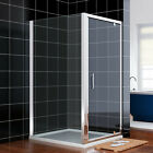 Hinge Pivot Shower Enclosure 6mm Glass Screen Cubicle Door+Side Panel+Stone Tray