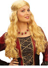 Ladies Long Medieval Wench Wig Maid Marion Juliet Brown/Blonde/Black Fancy Dress