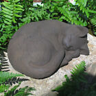 Cast Stone Cement Small Curled Sleeping Cat Outdoor Garden Statue