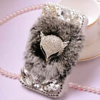 Deluxe Bling Rhinestone Warm Soft Fur Wallet PU Leather Case Cover For Samsung