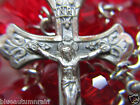 "† VINTAGE SACRED HEART OF JESUS TERLING & CRIMSON RED ROSARY WEARABLE 27 1/2"" †"