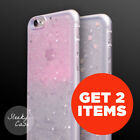 Get 2 Glitter Stars Bling Rubber Clear Sparkle Bumper Case iPhone 8 / 7 / 6 / 5