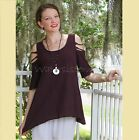 OH MY GAUZE Cotton MIAMI Peek-a-Boo A-Sleeves Top 1 (S/M) 2 (L/XL) 3 (1X) FIG