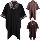 Womens Plus Size Leopard Animal Printed Ladies Wrap Collar Cape Coat Poncho Top