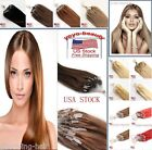 Real Remy Human Hair Extensions Micro Ring Loop Bead Tip Straight Hair 18'' USA
