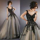 Lace Applique Train Wedding Dresses Quinceanera Formal Prom Party Pageant Gown