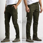 Fashion Men's Casual Slim Fit Straight Trousers Army Cargo Work Pants Trousers