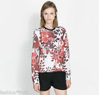 ZARA Floral Rose Print Sweatshirt Sweater Top W&B Collection New L UK 12-14