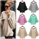 Ladies Long Sleeve Oversized Batwing Sweater Womens Pullover Knitted Jumper Tops