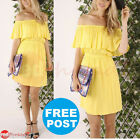 Sexy Summer Dress Off the Shoulder Womens Party Beach Yellow Tiered Boutique New