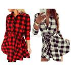 New Womens Sexy Checks Mini Shirt Dress Winter Spring Evening Party Bodycon B76