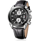 MEGIR Men Valentines Gift ThreeSubdial Leather Quartz Military Sport Wrist Watch