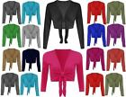 New Womens Ladies Long Sleeve Tie up Wrap Bolero Shrug Cardigan Top S/M-3XL