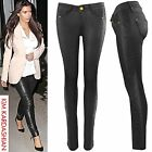 NEW WOMEN LADIES BLACK PU QUILTED JEANS LEATHER WET LOOK SKINNY STRETCH TROUSER