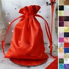 60 pcs 5x7 inch SATIN FAVOR BAGS - Shiny Wedding Drawstring Gift Large Pouches