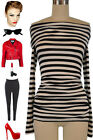 50s Style Black & White STRIPED J.D.Bad Girl Off T/Shoulder PINUP Tunic Top