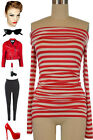 50s Style Red & White STRIPED J.D.Bad Girl Off T/Shoulder PINUP Tunic Top