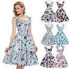 Women Vintage 50s 60' HOUSEWIFE Pinup Swing Prom Party Evening Dress