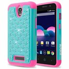 For ZTE Obsidian (Z820) Case, Spot Studded Crystal Dual Layer Hybrid Case